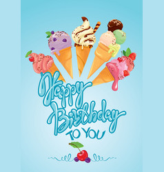 greeting card with ice cream cones on blue vector image vector image