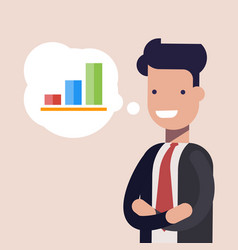 Happy businessman or manager and bar chart in vector