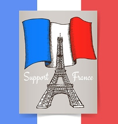 Sketch support France poster vector image