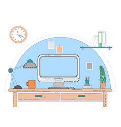 workspace for freelancer with computer laptop vector image vector image