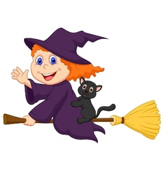 Young witch cartoon flying on on her broom vector image vector image