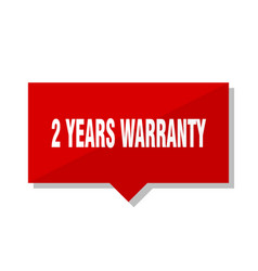 2 years warranty red tag vector image