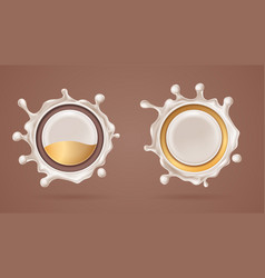 3d white chocolate splash with milk choco splat vector image