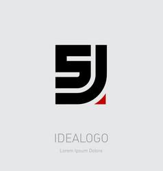 5 and j initial logo 5j initial monogram logotype vector image