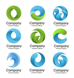 abstract circle nature logo set vector image