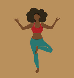 african american yoga woman abstract full-length vector image