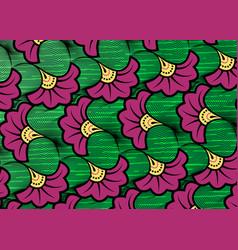 African wax print fabric ethnic tribal flowers vector