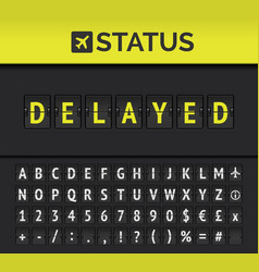 Airport flip board flight status delayed vector