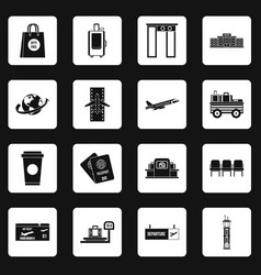 airport icons set squares vector image