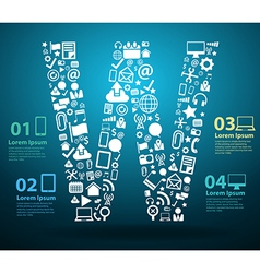 Application icons alphabet letters W design vector image
