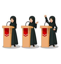 Arab businesswoman giving a speech behind rostrum vector