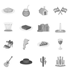 Argentina travel icons set monochrome vector