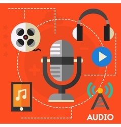 Audio production and podcast concept vector