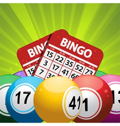 Bingo balls and card background on a green vector