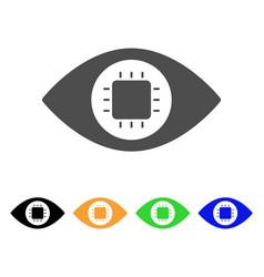 Bionic eye circuit flat icon vector