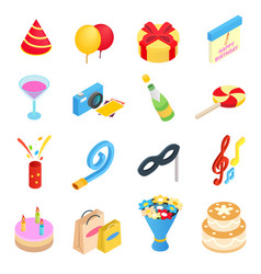Birthday party isometric icons vector
