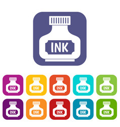 Black ink bottle icons set flat vector