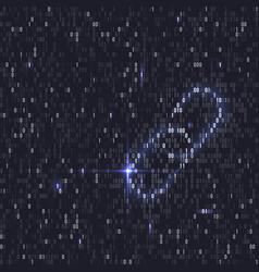 blockchain hyperlink symbol binary code vector image