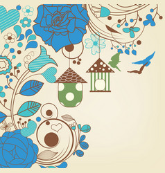 blue flowers background and bird cages vector image