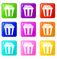 box of popcorn icons 9 set vector image
