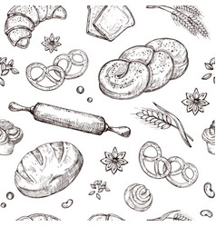 Bread seamless pattern vintage sketch bakery vector
