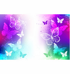 Bright background with white butterflies vector