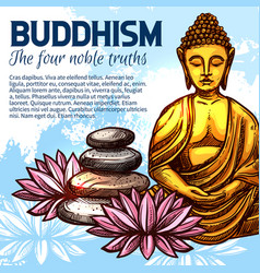 buddhism religion buddha and lotus vector image