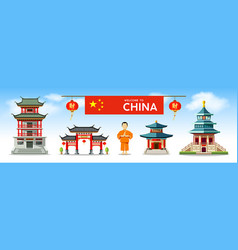 Buildings china style collections design vector