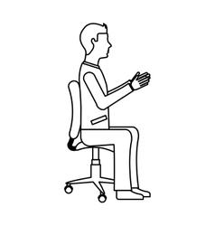 businessman avatar sitting on office chair vector image