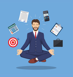 Businessman meditating time management vector