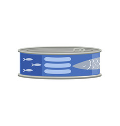 Canned tuna fish or sprat fish in metal container vector