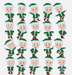 Cartoon character green santa claus set with vector