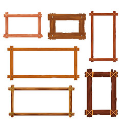 Cartoon wooden frames or borders with brown boards vector