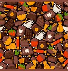 chocolate product pattern cacao coffe and vector image