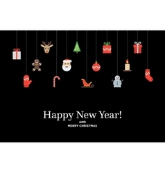 christmas set icons and elements tree deer vector image