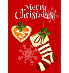 Christmas stocking and gingerbread holiday card vector