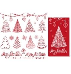 Christmas tree ballsdecorwishesRed Card vector image
