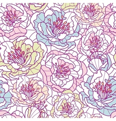 Colorful line art flowers seamless pattern vector