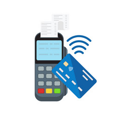 contactless or wireless payment with posterminal vector image