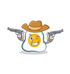 Cowboy fried egg character cartoon vector
