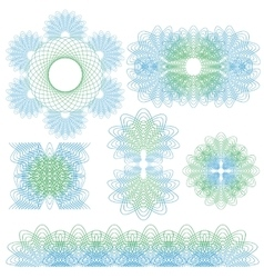 Cuilloche Ornaments Set vector image