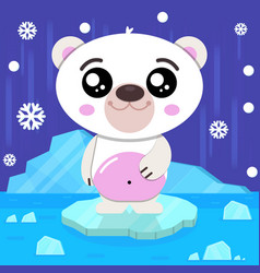 cute baby polar bear vector image