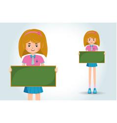 cute little girl student holding banner vector image