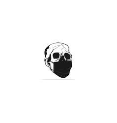 Dead skull with medical mask vector