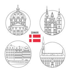 denmark set landmark icons vector image