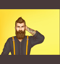 Doubtful hipster man cartoon portrait vector