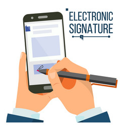 Electronic signature smartphone vector
