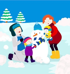 Family in winter vector
