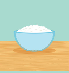 Farm curd cheese on the table vector