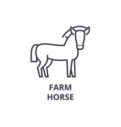 farm horse line icon outline sign linear symbol vector image